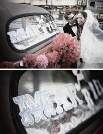 wedding photo - JUST MARRIED  , car