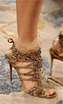 wedding photo - Golden high heels sandals by Christian Louboutin
