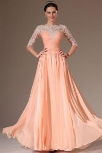wedding photo - Custom Fashion Evening Dress 3/4 Sleeves Chiffon Applique Prom Party Formal Gown