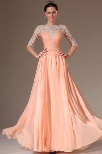 wedding photo - Vestido de noche formal del vestido de la manera de encargo 3/4 mangas de la gasa de la fiesta Prom Applique