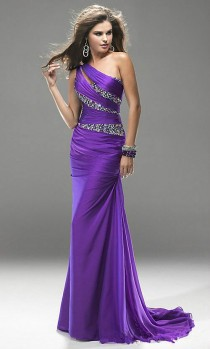 wedding photo - Purple Beaded Long Bridesmaid Prom Formal Evening Cocktail Party Ball Gown Dress
