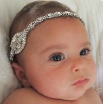 wedding photo - Little Girl Baby Christening Baptism Flower Girl Headband Stretchy Hair Band