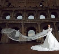 wedding photo - White colored wedding veil in the air
