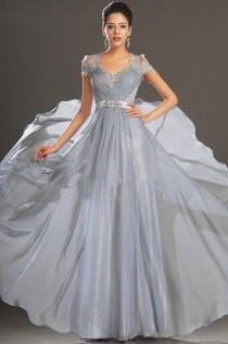 wedding photo - V Neck Lace Chiffon Cap Sleeve Evening Gown Party Ball Wedding Formal Prom Dress