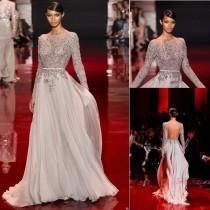 wedding photo - ElieSaab Transparent mit langen Ärmeln Rückenfrei Chiffon-Abend-Partei-Abschlussball-Kleider