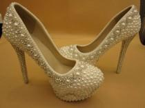 wedding photo - Ivory Pearl Rhinestone Closed Toe Platform Bridal Wedding Shoes