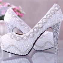wedding photo - Amazing White Pearl wedding shoes