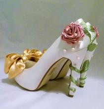 wedding photo - Ivory Satin Bridal Shoes Belle Disney Princess Inspired Custom White Fairytale