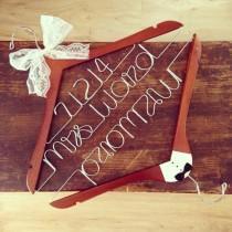 wedding photo - Personalized Wedding Hanger- (Embella Hangers) Bride & Groom Set