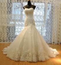 wedding photo - White Ivory Mermaid Gown Bridal Wedding Dress Custom Size 6 8 10 12 14 16 18