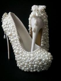 wedding photo - Bridal Shoes* Handmade Luxury Pearl Shoes