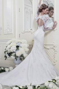 wedding photo - Fashion White/ivory Mermaid Long-Sleeve Lace Wedding Dresses Custom-made 2014