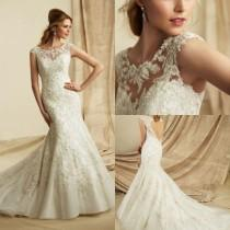 wedding photo - Mermaid White/Ivory Lace Wedding Dress Bridal Gown Custom Size 6 8 10 12 14 16