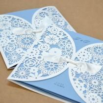 wedding photo - 1 Sample Kit Luxury Laser Cut Satin Ribbon Wedding Cards Invitation BH2065 Blue