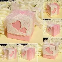 wedding photo - 100× Pink Hollow Heart Candy Boxes With Ribbon Wedding Party Baby Shower Favors
