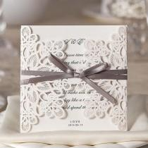 wedding photo - Floral Cut Pearl Ribbon Wedding Invitations Free Envelopes & Seals Kit WI1080