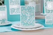 wedding photo - Blue Tiffany Style Wedding Invitation Cards Invitations Envelopes Seals WI1031