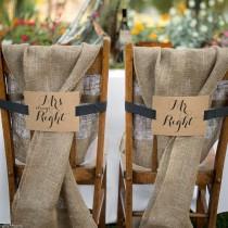 wedding photo - Mr. And Mrs. Kraft Chair Banners Wedding Table Decor Decoration