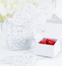 wedding photo - 25 White Lazercut Heart Shaped Wedding Party Favor Boxes W/ Ribbon