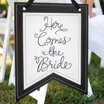 wedding photo - Here Comes The Bride Wedding Ceremony Ring Bearer Pennant Sign