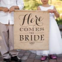 wedding photo - Rustic Linen Here Comes The Bride Wedding Ceremony Ring Bearer Pennant Sign