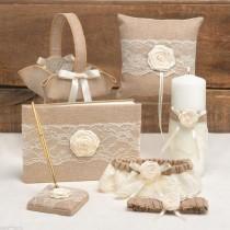 wedding photo - Rustic Country 6pc Pillow Basket Guest Book Pen Garter Pillow Basket Wedding Set