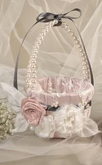 wedding photo - Flower Girl Basket  Peach Satin and cream Lace, Flowers and Pearls - New