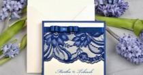 wedding photo - Custom Listing (20) Navy Lace Ecru Wedding Invitation, Pocket Fold Wedding Invitations , Vintage Wedding Invitation