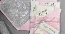 wedding photo - Custom Listing (20) Pink Silver Glitter Wedding Invitation, Blush Pink Invitation, Wedding Glitter Invitations, Pink Lace Inviation