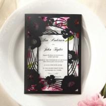 wedding photo - Laser Cut Frame Pocket IWP14033-PK Wedding Invitation Sample (IWP14033-PK)