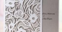 wedding photo - Wild Roses Laser Cut Wrap-Wedding Invitation Sample(BH3595)