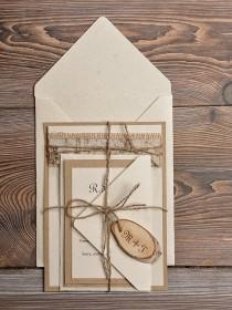 wedding photo - Custom Listing (10) Lace Eco Recycling Paper Wedding Invitation, Birch Bark Slice Rustic Wedding Invitations, Country Style Wedding