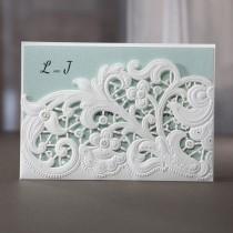 wedding photo - Laser Cut Floral Pocket - Wedding Invitaiton Sample (BH3663)