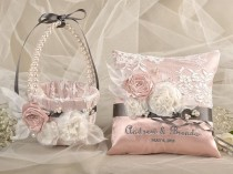 wedding photo - Flower Girl Basket & Ring Bearer Pillow Set, Custom Embroidery