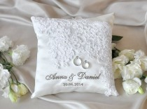 wedding photo - Lace Wedding Pillow, Vinateg Ring Bearer Pillow, White Ring Pillow, Classic Ring Pillow , 4lovepolkadots