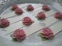 wedding photo - Pink Paper Flower Place Cards
