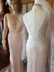 wedding photo - Vintage inspired wedding dress Alternative Lace dreams in White /Ivory or Palest Pink - New