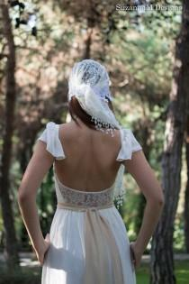 wedding photo - Gypsy Long Wedding Gown Bridal Boho Dress Bohemian Long Ivory Gown Bridal Long Gown - Handmade by SuzannaM Designs - New