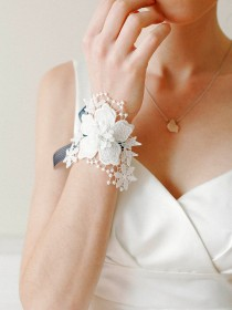 wedding photo - Wedding corsage, bridal lace corsage, bridal wristlet, bridal bracelet - style 403 - New