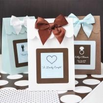 wedding photo - 24 Personalized Wedding Theme Candy Boxes Bags Favors