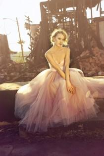 wedding photo - Blush Sweetheart Strapless Floor length Tulle Wedding Dress - Blushing in Pink by Ouma - New