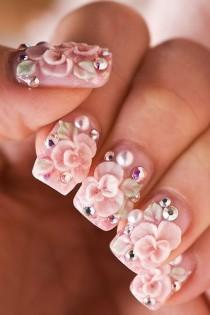wedding photo - Flower Nails - Decorative And Pretty Accents For Your Hands -