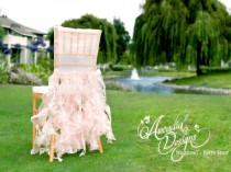 wedding photo - Bridal Chair Cover Wedding Ruffle Chair Decoration MADE TO ORDER Willow Slipcover for Event Reception Bridal Shower Wedding Engagement Decor - New