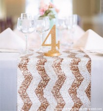 wedding photo - Chevron Sequin Table Runner READY TO SHIP. Sparkly Wedding Tablecloth for Reception, Bridal Shower, Sparkly Winter Wedding Ceremony Decor - New