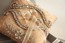 wedding photo - Bridal Ring Pillow - Neivo Champagne (Made to Order) - New