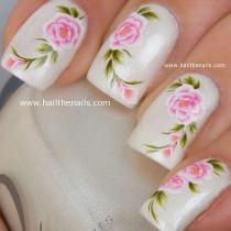 wedding photo - English Tea Rose Nail Art Water Transfer Decal Pink YD20 - New