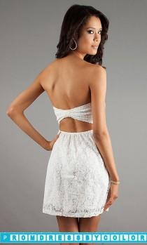 wedding photo - $146 Designer Prom Dresses - Short Strapless Lace Dress at www.promdressbycolor.com