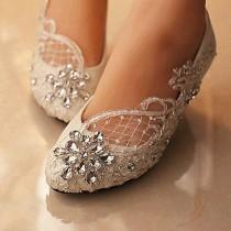 wedding photo - Lace White Ivory Crystal Wedding Shoes Bridal Flats Low High Heel Pump Size 5-12