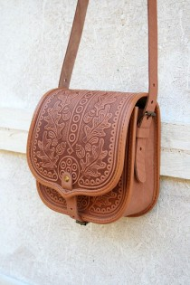 wedding photo - Tooled Light Brown Leather Bag - Shoulder Bag - Crossbody Bag - Handbag - Ethnic Bag - Messenger Bag - For Women - Capacious