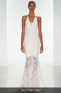 wedding photo - nouvelle AMSALE 'Bree' Lace & Crepe Halter Gown (In Stores Only)